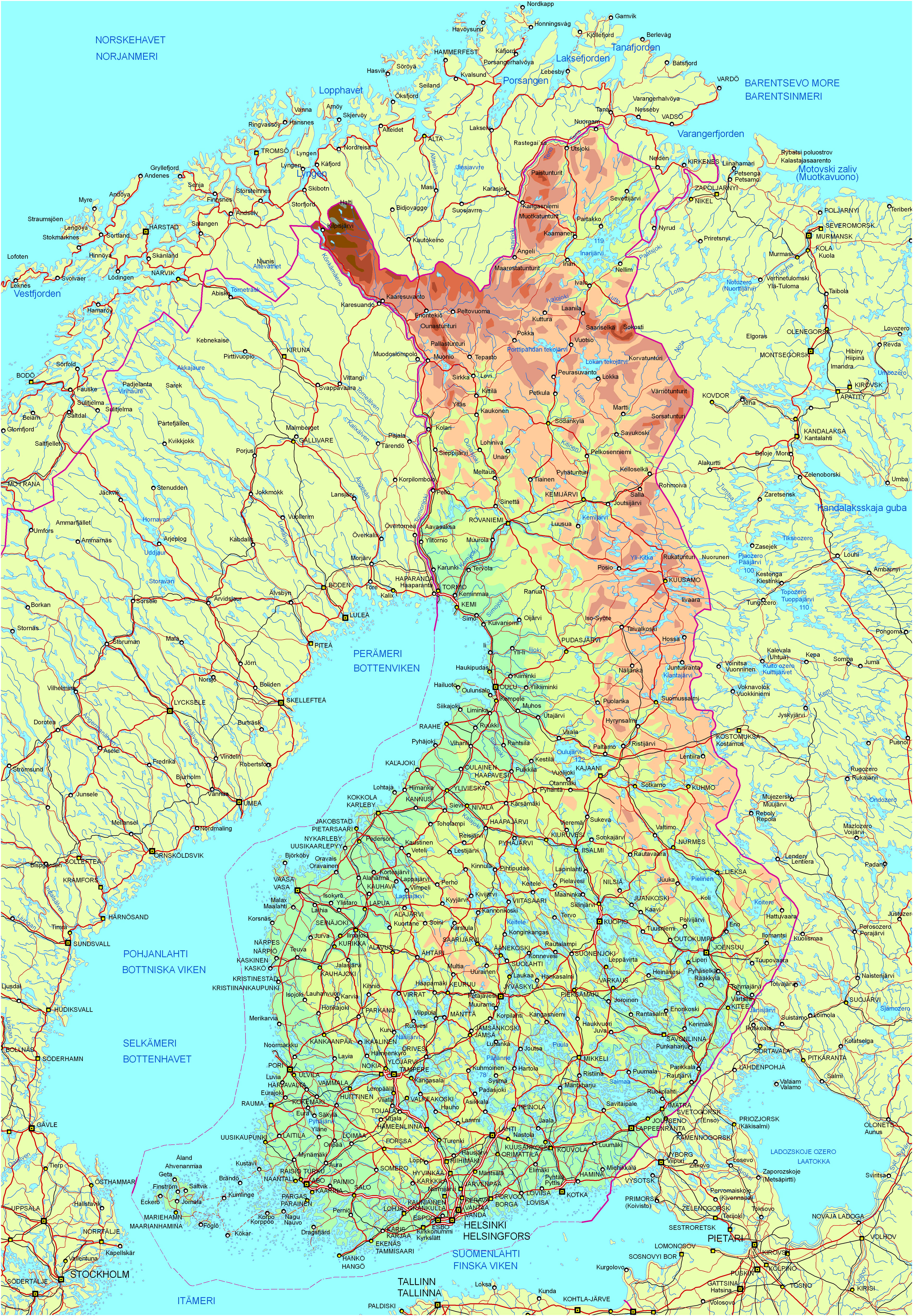 Detailed road a... Finnland