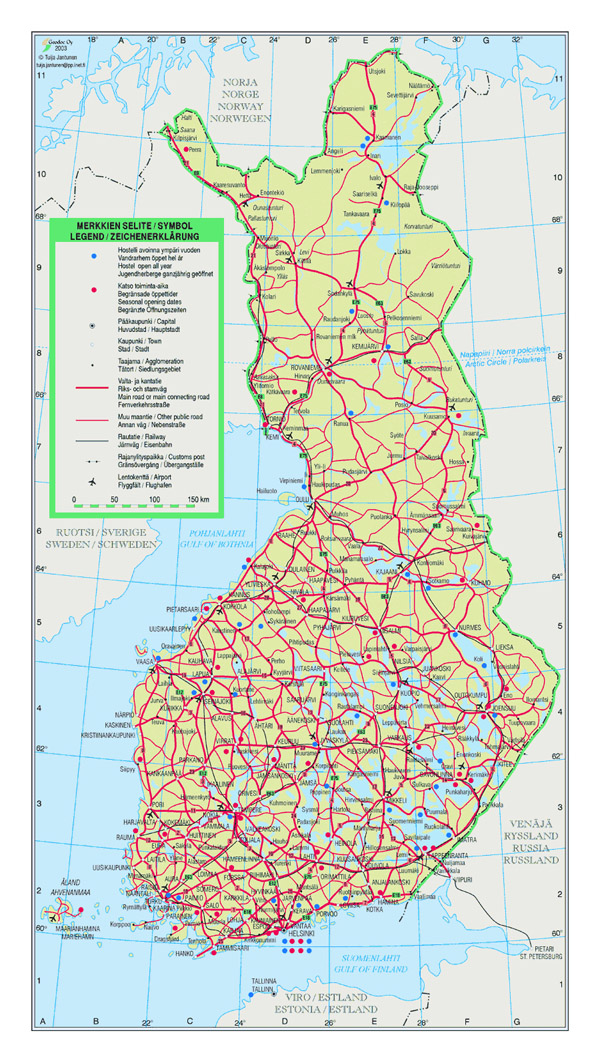 Detailed road map of Finland with cities and airports.