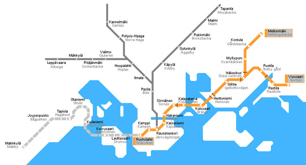 Detailed metro map of Helsinki city. Helsinki city detailed metro map.
