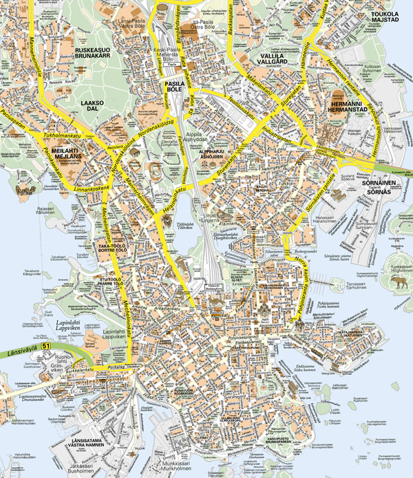 Large detailed road map of Helsinki city. Helsinki city large detailed road map.
