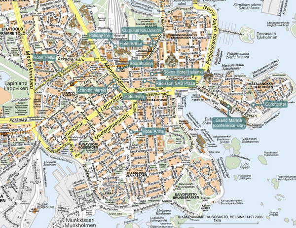 Large detailed tourist map of Helsinki city.