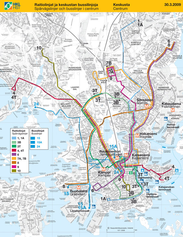 Large detailed transport map of Helsinki city.