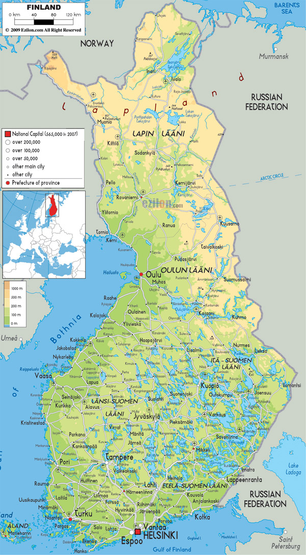 Large detailed physical map of Finland with all cities, roads and airports.