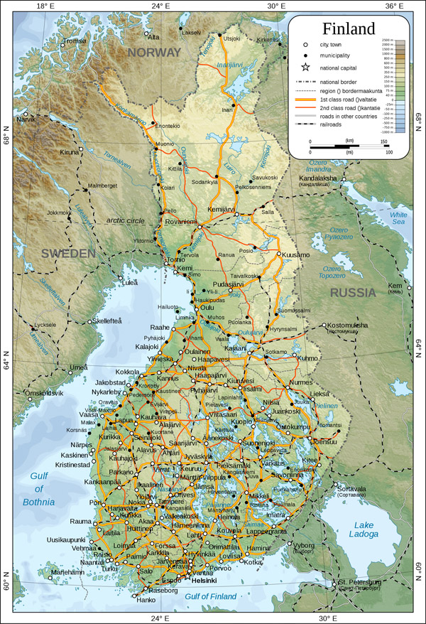Large detailed physical map of Finland with all cities, roads railways and airports.