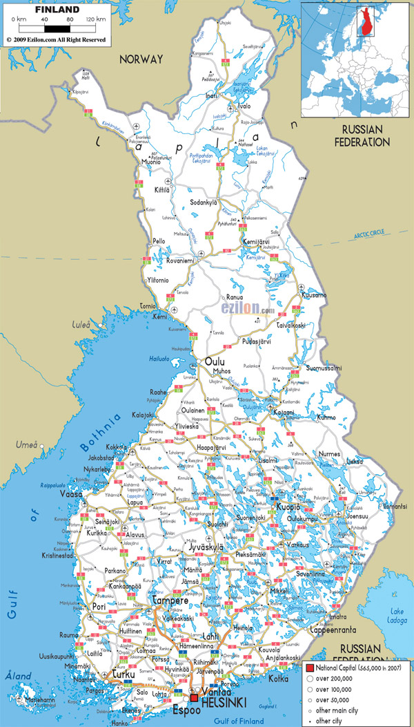 Large detailed road map of Finland with all cities and airports.