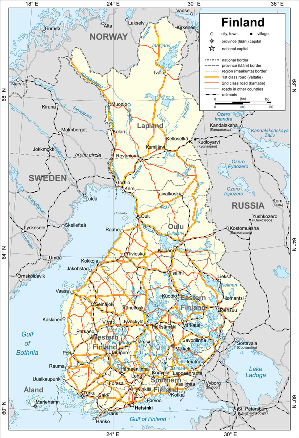 Large map of Finland with cities. Finland large map with cities.