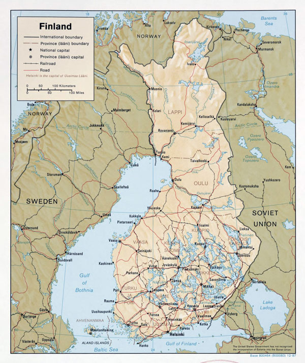 Large political and administrative map of Finland with relief, roads and major cities - 1987.