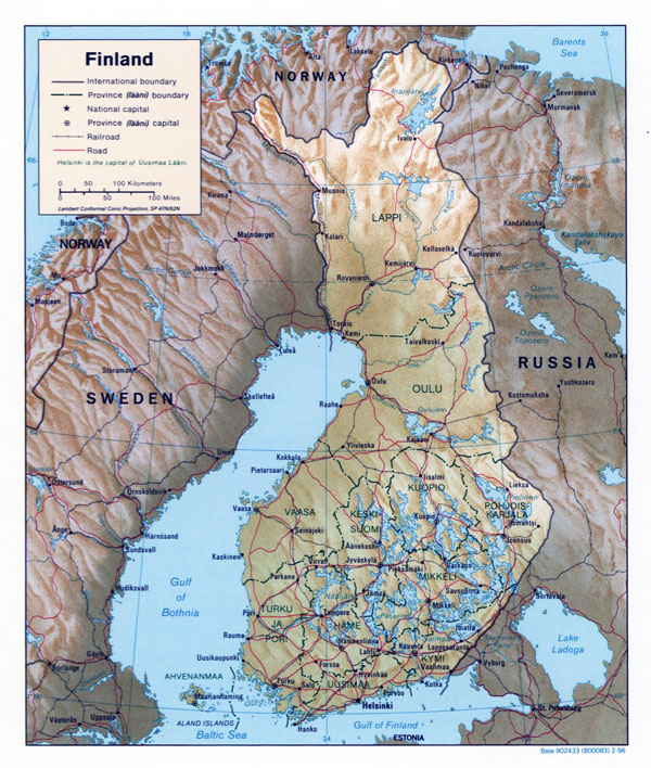 Large political and administrative map of Finland with relief, roads and major cities - 1996.