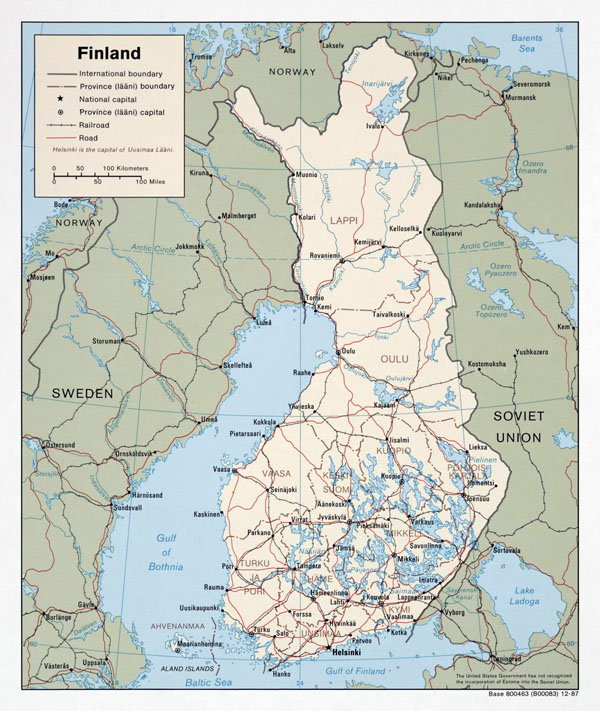 Large political and administrative map of Finland with roads and major cities - 1987.