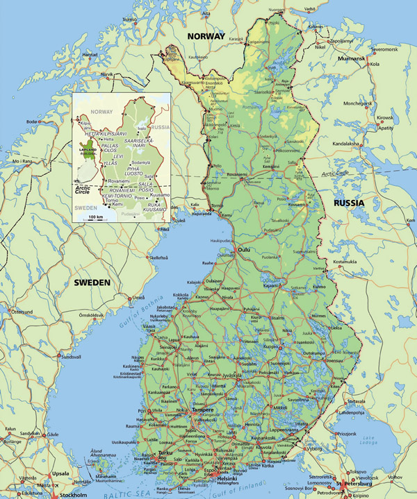 Large road map of Finland with cities.