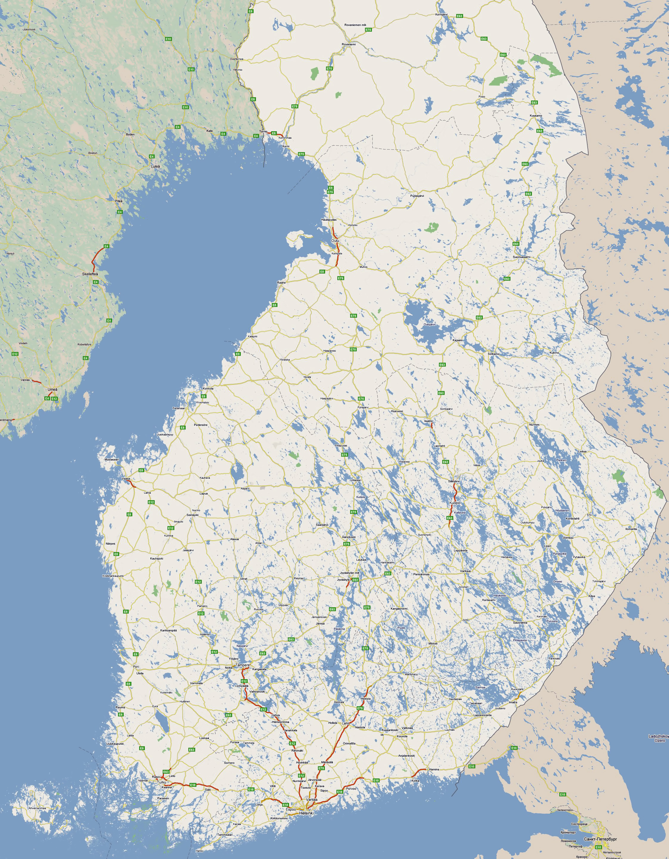 Large road map of South Finland with all cities Vidianicom Maps
