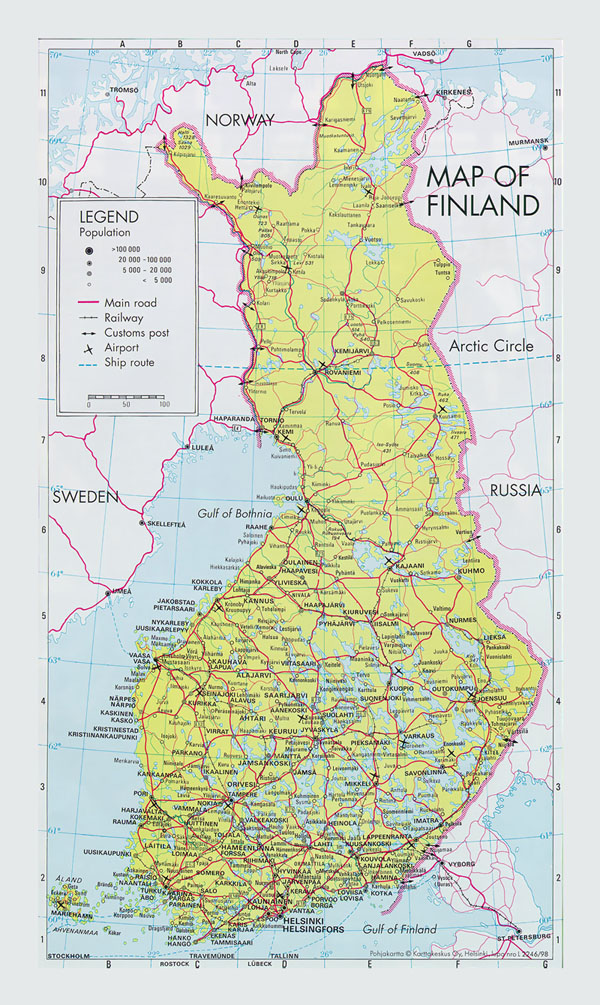Road map of Finland with cities and airports.