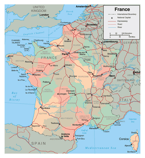 Detailed administrative map of France. France detailed administrative map.