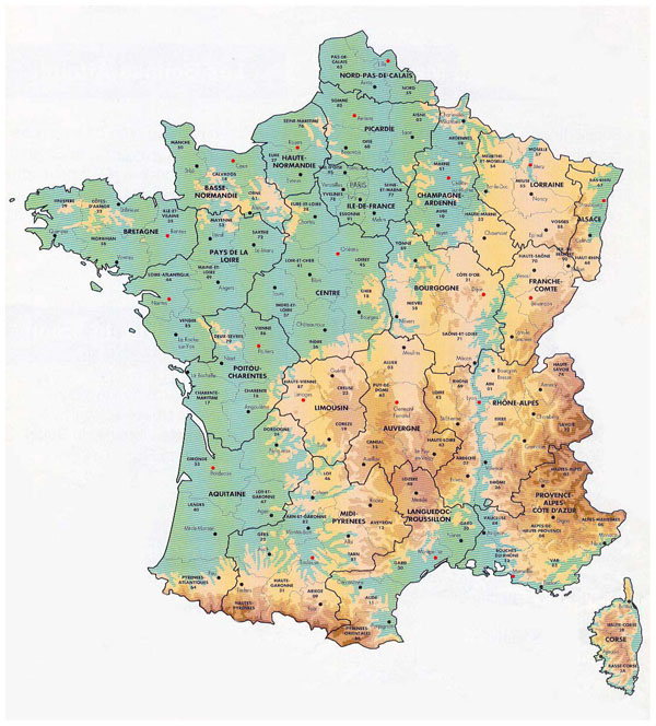 Detailed elevation map of France with administrative divisions.