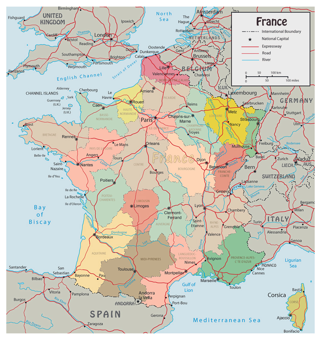 Image of: Detailed Political Map Of France With Roads And Major Cities Vidiani Com Maps Of All Countries In One Place