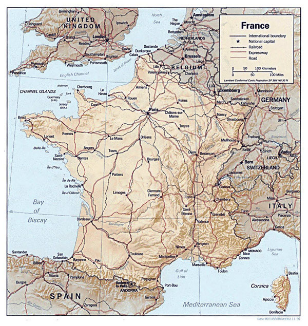 Detailed road, relief and political map of France.