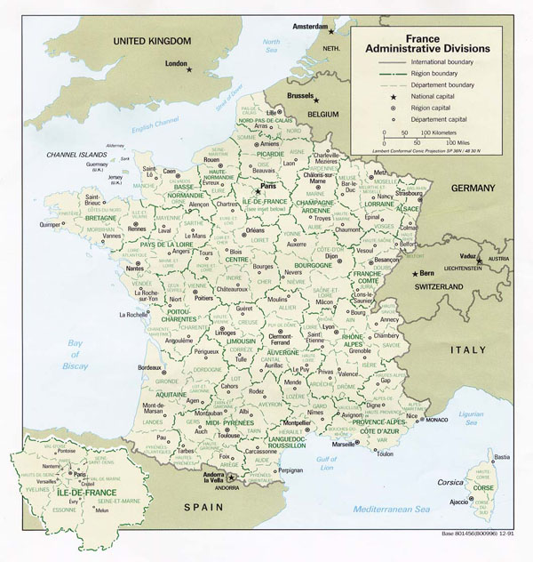Large administrative map of France.France large administrative map.