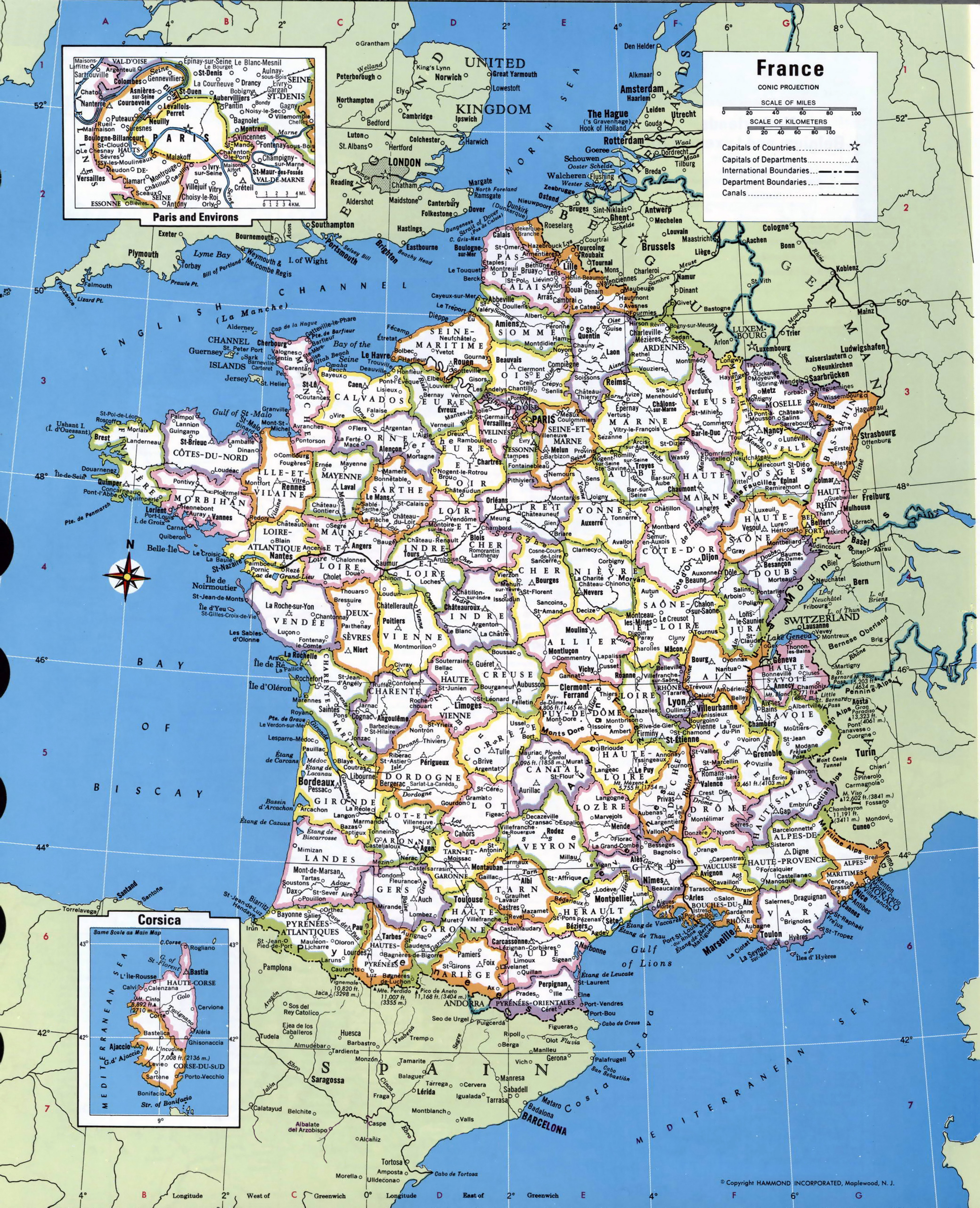 Large detailed administrative and political map of France with all