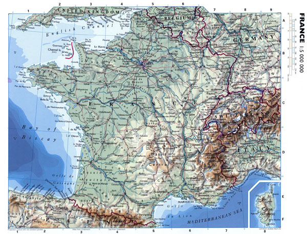 Large detailed elevation map of France. France large detailed elevation map.