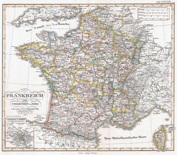 Large detailed old political and administrative map of France with relief - 1850.