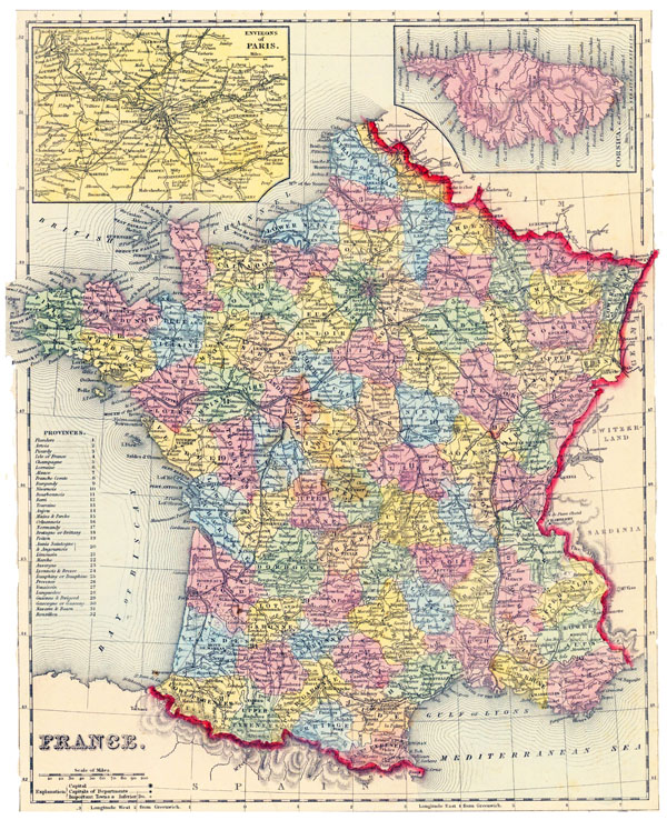 Large detailed old political and administrative map of France with roads and cities - 1857.