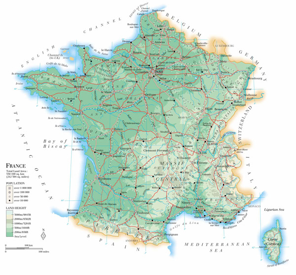 Large detailed physical map of France with roads and cities.