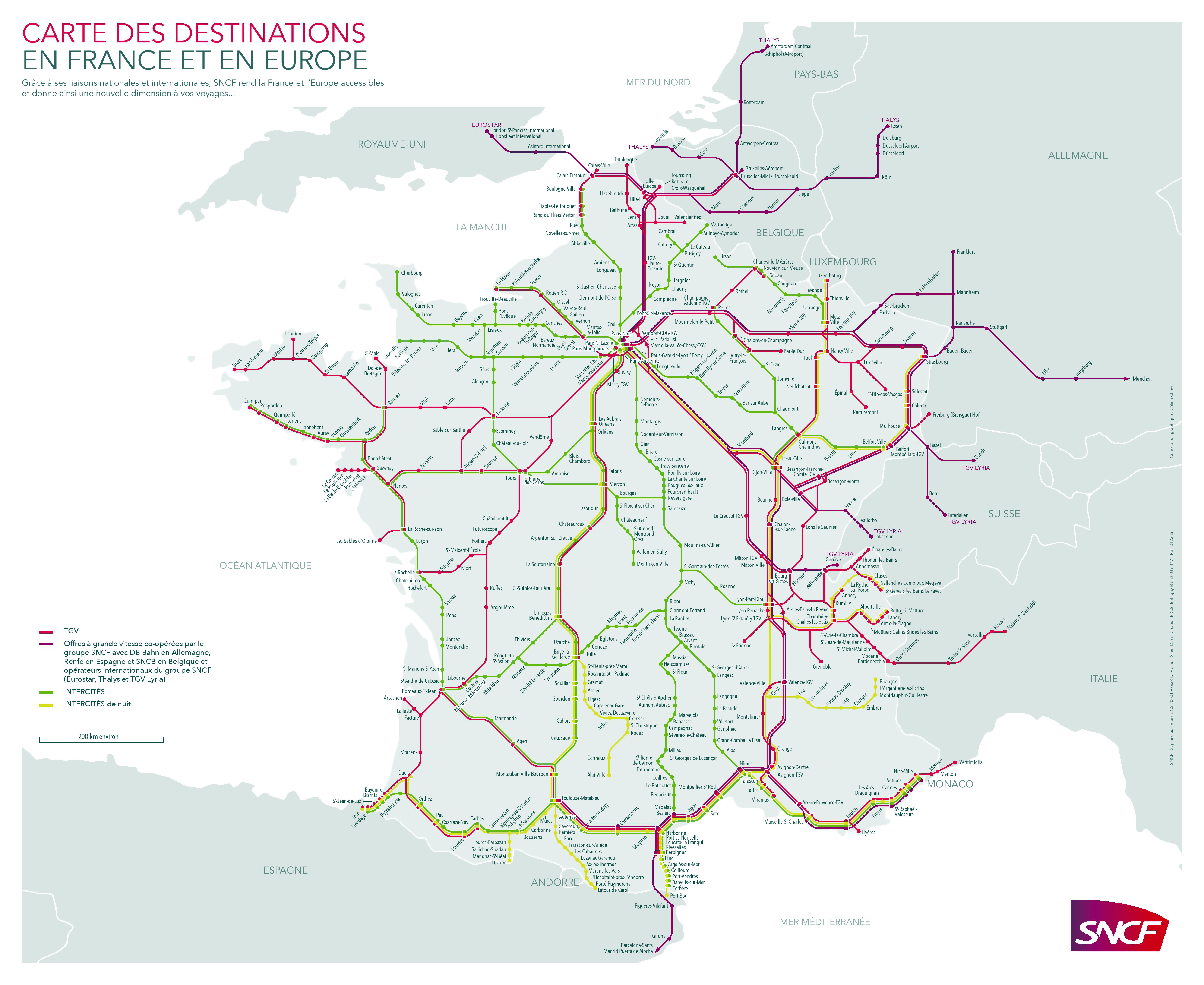 Large Detailed Railways Map Of France France Large Detailed