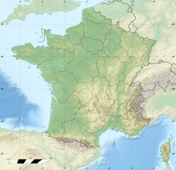 Large detailed relief map of France. France large detailed relief map.