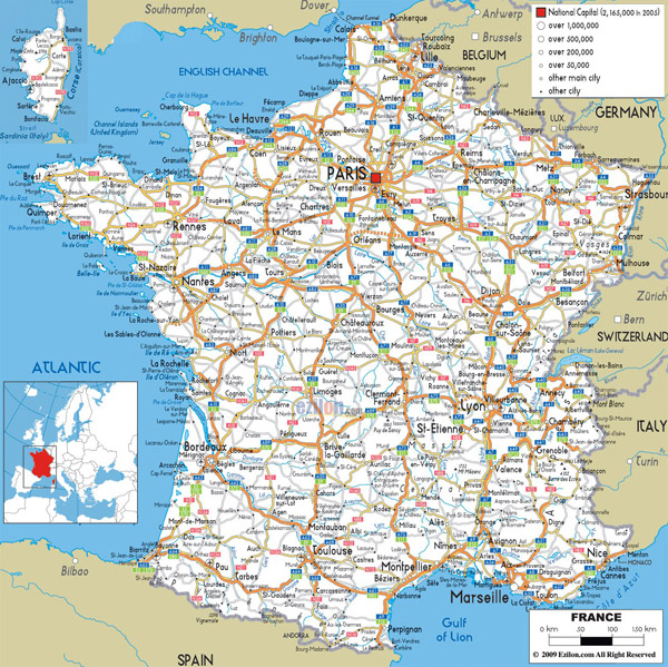 Large detailed road map of France with all cities and airports.