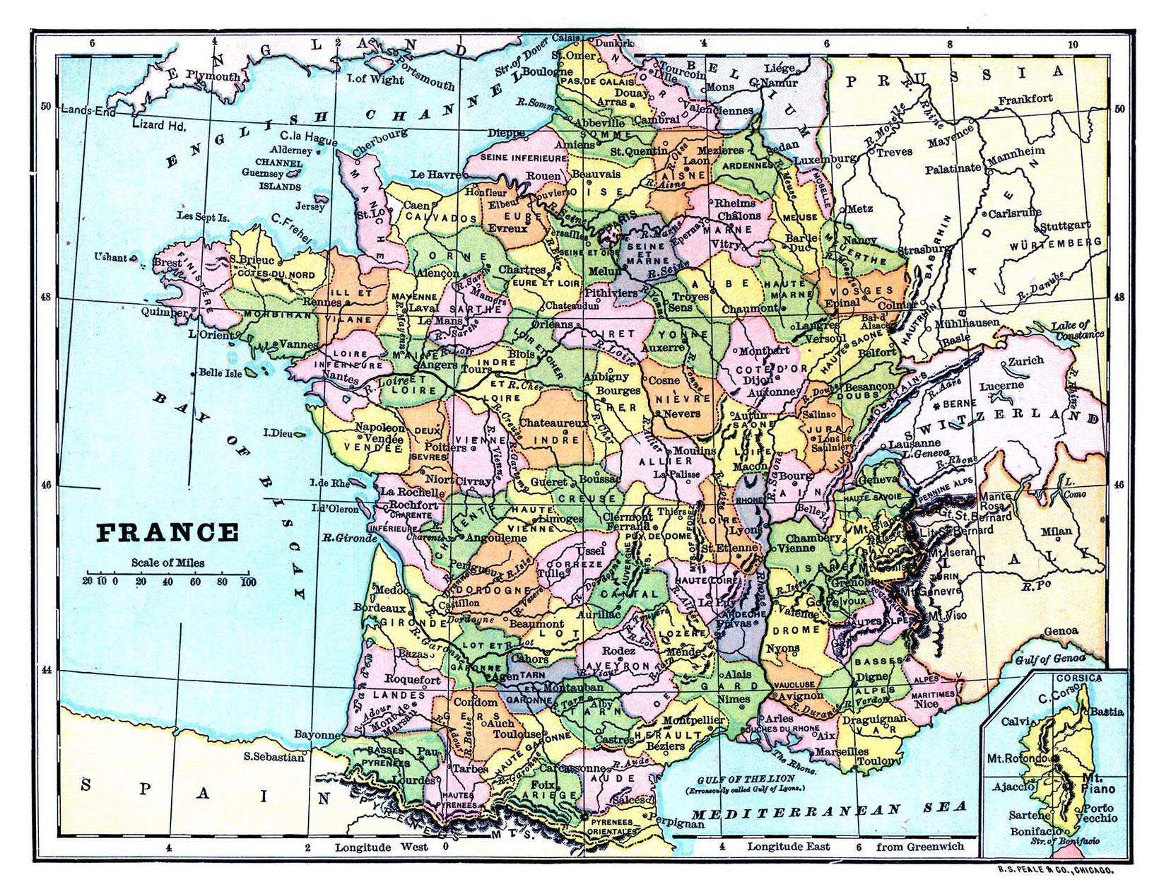Large old political and administrative map of france for Map of france