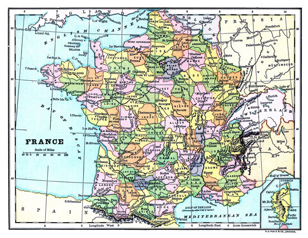 Large old political and administrative map of France.