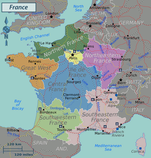 Large political map of France. France large political map.