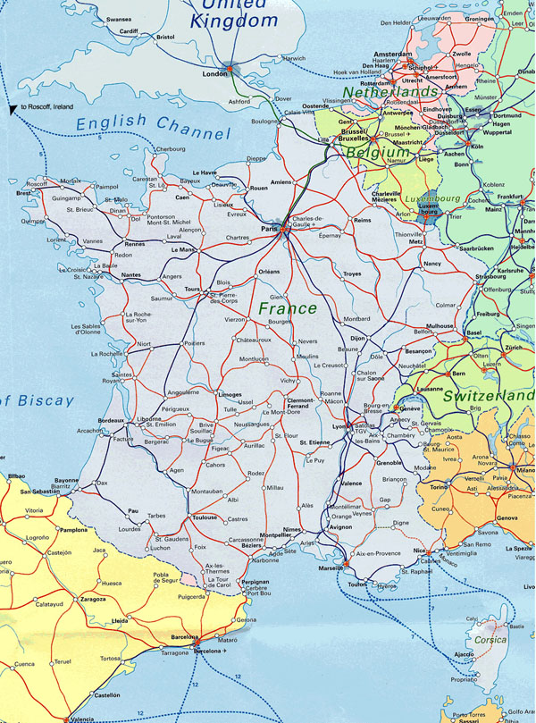 France large railways map. Large railways map of France.