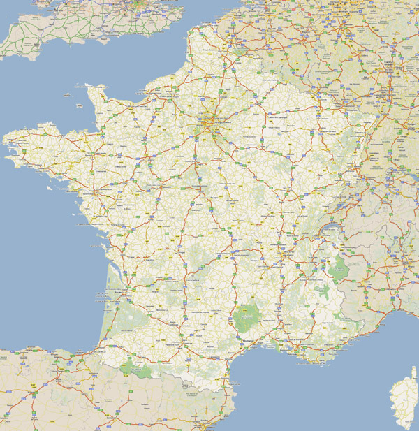 Large road map of France with all cities.