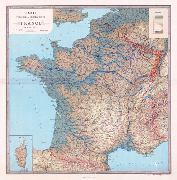 France large scale old physical map. Map of France.