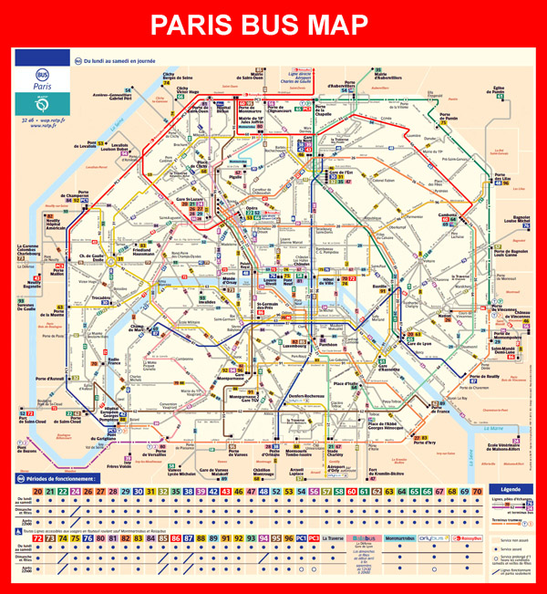 Detailed bus map of Paris city.