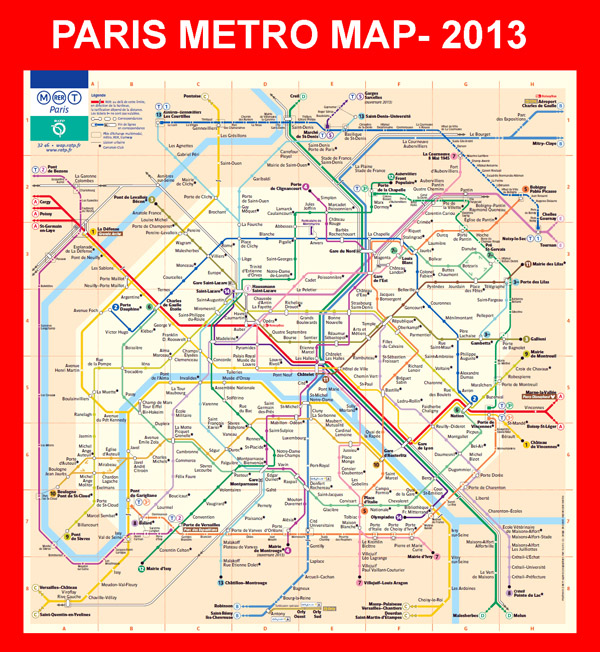 Detailed metro map of Paris city Maps of all countries in one