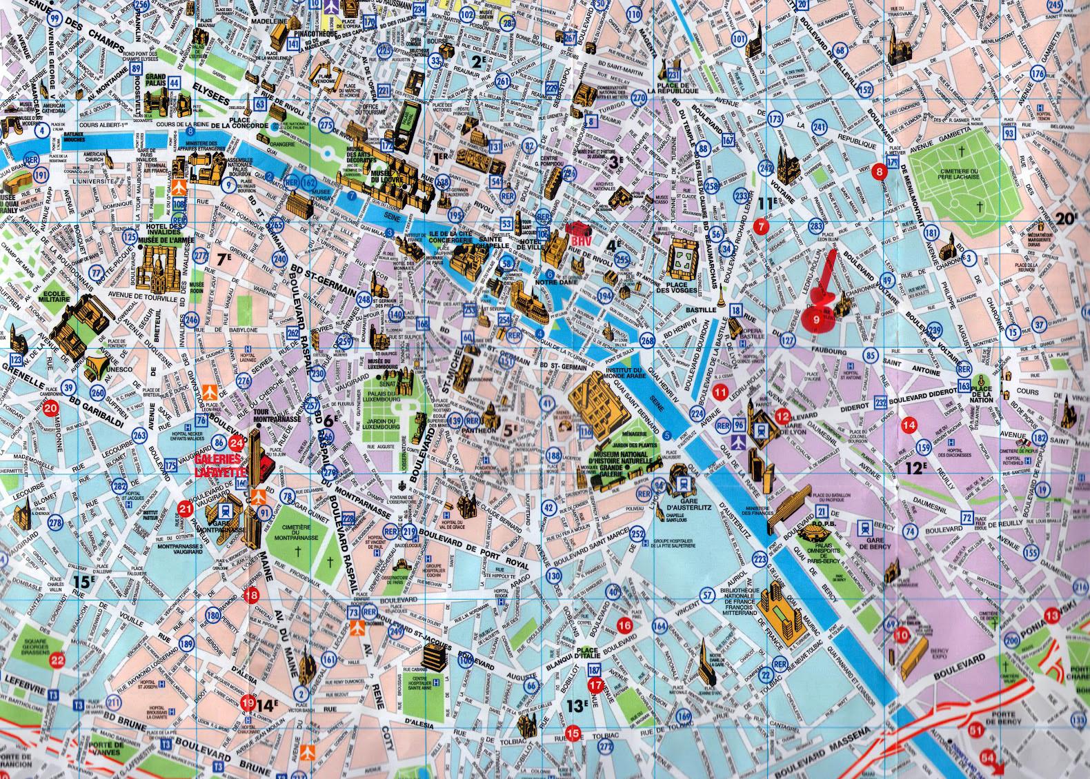 detailed tourist map of central part of paris city