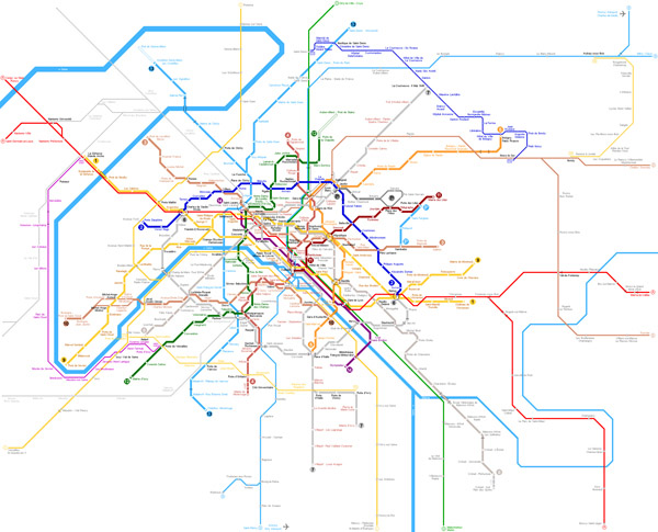 Full large detailed metro map of Paris city.Paris city full large detailed metro map.