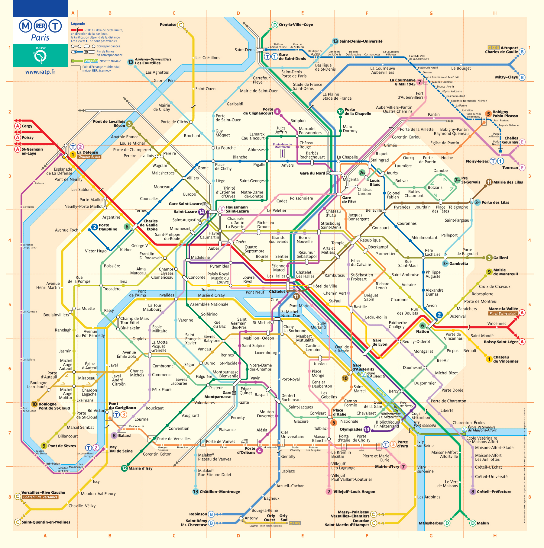 Large detailed metro map of Paris city Paris city large detailed