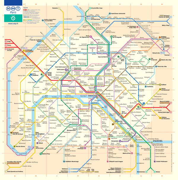 Large detailed metro map of Paris city. Paris city large detailed metro map.