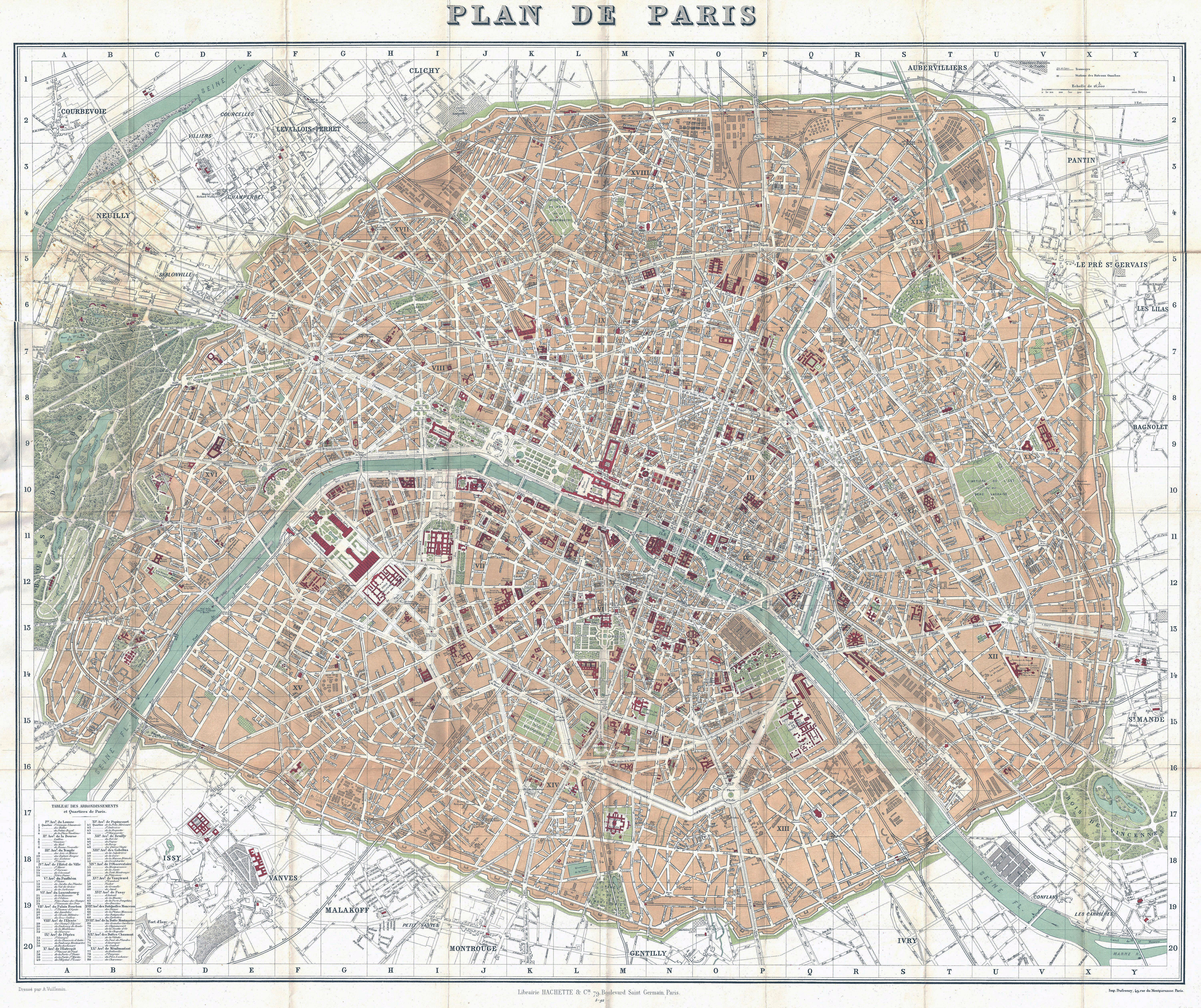 Large Detailed Old Map Of Paris City 1892 Vidiani Com Maps Of