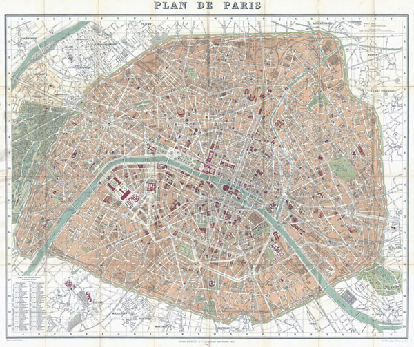 Large detailed old map of Paris city - 1892.