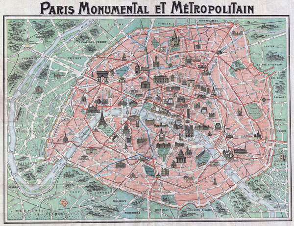 Large detailed old map of Paris city - 1932.