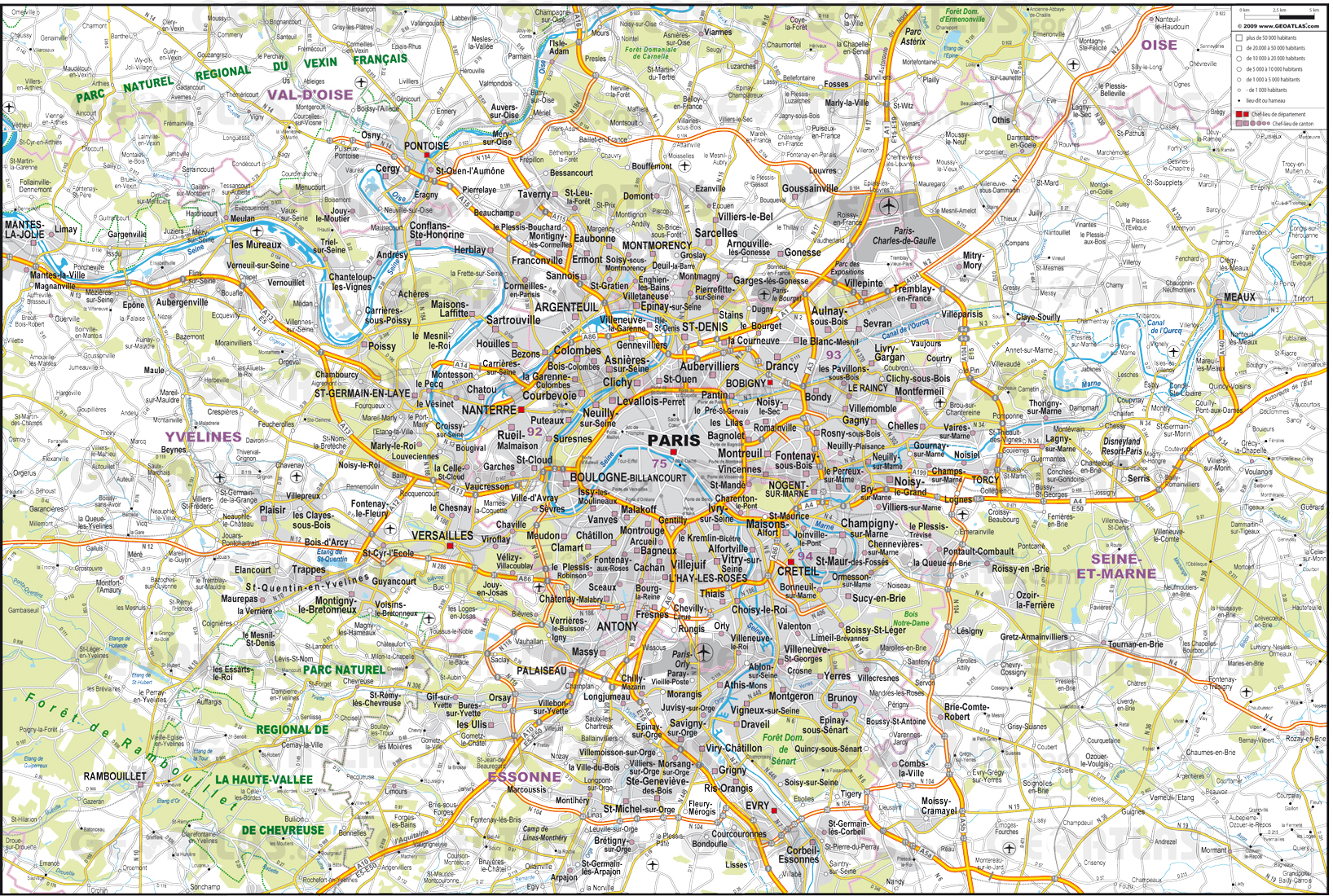 Large detailed road map of the environs of Paris city Paris city
