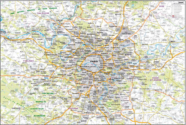 Large detailed road map of the environs of Paris city.