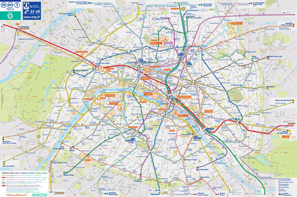 Large detailed tourist and transport map of Paris city.