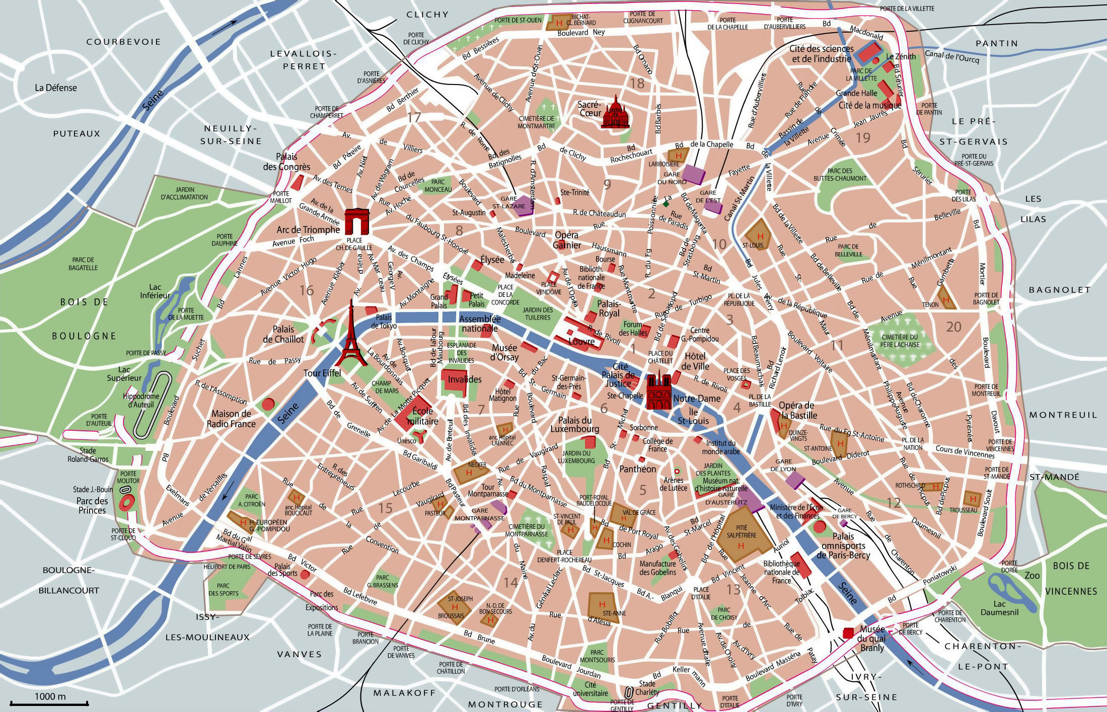 Large detailed tourist attractions map of Paris city | Vidiani.com ...