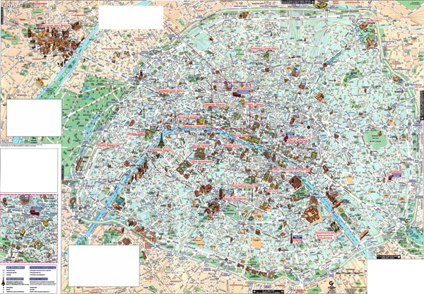Large detailed tourist map of Paris city in russian and franch languages.