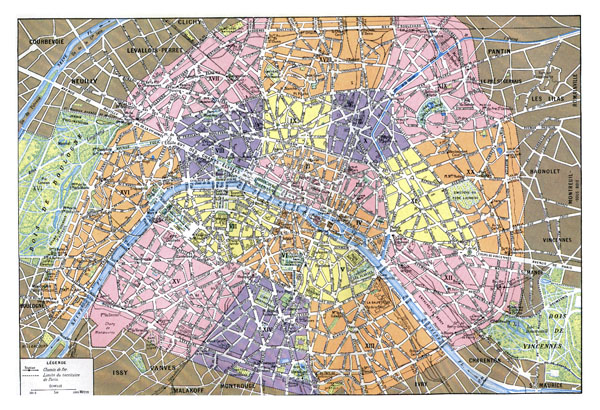 Large old road map of Paris with administrative subdivisions.